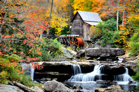 Glade Creek Grist Mill in autumn color; Babcock State Park, WV