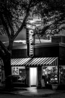 A black and white night time photograph of the Shelby Cafe in Shelby, NC