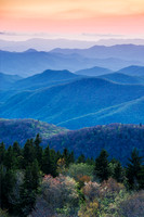 Southern Appalachians at sunset; Cowee Mountains overlook