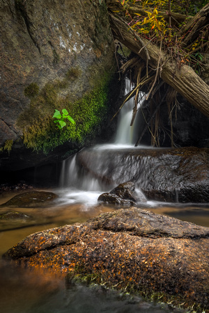 A small waterfall filters through the rocks in Elk Creek, VA